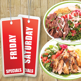 FRIDAY / SATURDAY SPECIAL - 2 PLATTERS OF CHICKEN OR BEEF SHAWARMA (1910 - 2690 Cals)