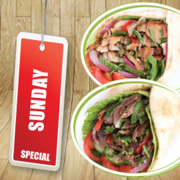 SUNDAY SPECIAL - 2 BEEF OR 2 CHICKEN SHAWARMA WRAPS (860 - 1060 Cals)