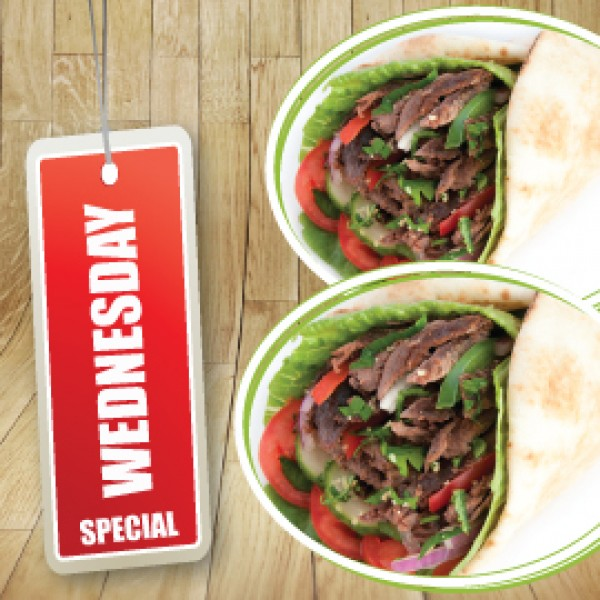 WEDNESDAY SPECIAL - 2 BEEF SHAWARMA WRAPS (878 - 1058 cals)